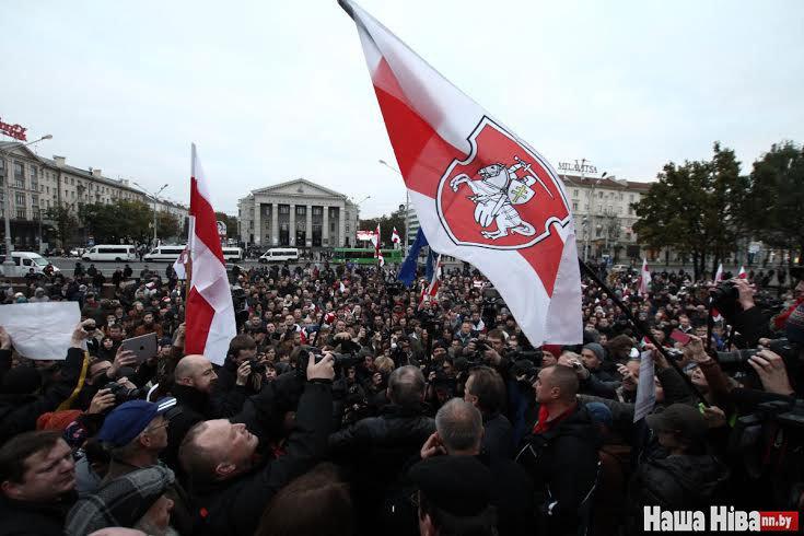 Hа площади Якуба Коласа в Минске 10 октября состоялся небольшой митинг «против балагана». Фото «Наша ніва»