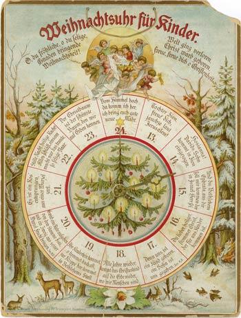 В 1902 г. книжный магазин в Гамбурге, специализировавшийся на продаже христианской литературы, выпустил первый печатный адвент-календарь в виде часов, который стал своего рода прообразом современных рождественских календарей. Фото http://www.burgzug.ch
